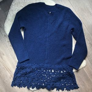 Sweaters - Navy Blue Half Zip Pullover Sweater Lace Hem